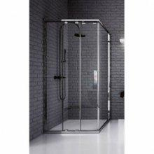 Ultra - posuvné dveře 3-dílné 100cm, sklo čiré, stříbrná lesklá