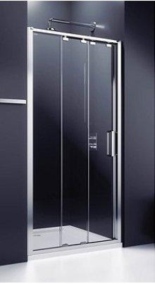 Ultra - posuvné dveře 3-dílné 100cm do niky, sklo čiré, stříbrná lesklá