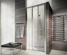 First - posuvné dveře 90 cm, sklo čiré, stříbrná lesklá