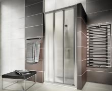 First - posuvné dveře 90 cm, sklo satin, stříbrná lesklá