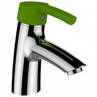 Curvepro - umyvadlová stojánková páková baterie, zelená páčka, s automatickou výpustí