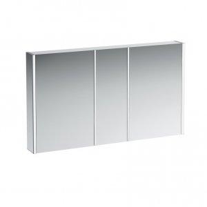 Frame 25 - hliníková zrcadlová skříňka 75x120, LED, el.zásuvka, prostorové osvětlení, bílá