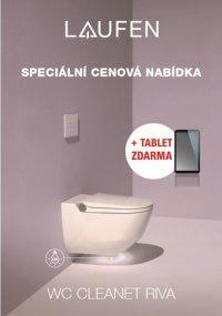AKCE: Cleanet Riva - závěsný klozet+podomítkový modul+lesklé tlačítko+tablet