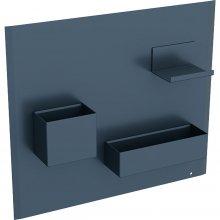 Acanto - magnetická tabule s úložnými přihrádkami, šedá