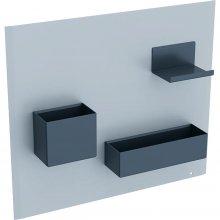 Acanto - magnetická tabule s úložnými přihrádkami, pískově šedá