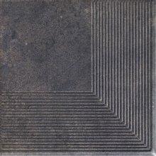 Viano antracite stopnica ryflovana narozna - schodovka rohová 30x30 šedá