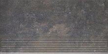 Viano antracite stopnica ryflovana prosta - schodovka 30x60 šedá