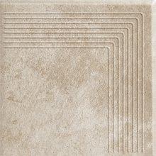 Viano beige stopnica ryflovana narozna - schodovka rohová 30x30 béžová