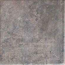 Viano grys stopnica ryflovana narozna - schodovka rohová 30x30 šedá