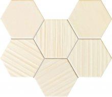 MS-Horizon hex ivory - obkládačka mozaika 28,9x22,1 bílá