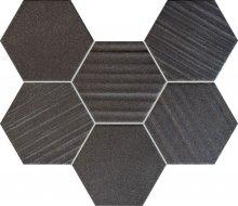 MS-Horizon hex black - obkládačka mozaika 28,9x22,1 černá