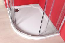 Sprchová vanička Riva - litý mramor - čtvrtkruhová levé 100x80 R55 cm, bílá
