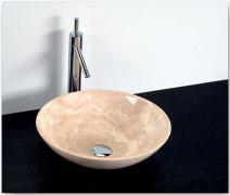 Umyvadlo - kamenina - 40x12 cm, leštěný béžový travertin