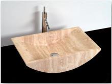 Umyvadlo - kamenina - 60x38x14 cm, matný béžový travertin