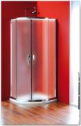 Sprchový kout Sigma čtvrtkruhový, dvoudílné dveře 90x90 R55, sklo čiré/leštěný profil