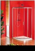 Sprchový kout Sigma čtvrtkruhový, jednodílné dveře 90x90 R55, sklo čiré/leštěný profil