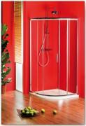 Sprchový kout Sigma čtvrtkruhový, jednodílné dveře 90x90 R55, sklo brick/leštěný profil