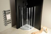 Sprchový kout One čtvrtkruhový, dvoudílné dveře 90x90 R55, sklo čiré/leštěný profil