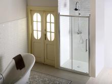 Sprchové dveře Antique jednodílné posuvné 130 cm, sklo dekor/profil chrom