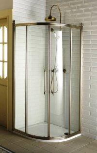 Sprchový kout Antique čtvrtkruhový, posuvné dveře 100x100 R55, sklo čiré/profil bronz