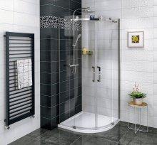 Sprchový kout Dragon čtvrtkruhový, dvoudílné dveře 90x90 R55, sklo čiré/lesklý chrom