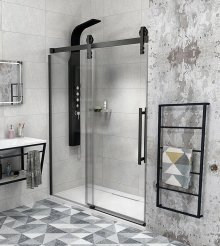 Sprchové dveře Volcano posuvné 130 cm, sklo čiré/matná černá
