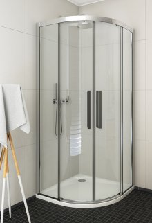 ECR2N 900 - sprchový kout čtvrtkruhový 90x90 s dvoudílnými posuvnými dveřmi