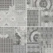 Riabita Inserto Pattern Grey s/4 - dlaždice dekor 10x10 šedá