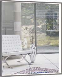Centino - zrcadlo 60x70 s LED osvětlením, hliníkový rám černý
