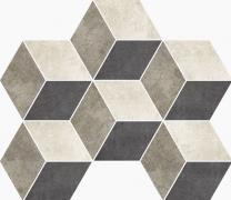 Mosaico Rombi 3D Lappato - dlaždice mozaika 34,5x26,5 šedá lappovaná