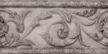 Listello Floreale Gray - dlaždice bordura 7,5x15 šedá