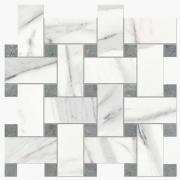 Imperial Intreccio Silk Calacatta Bianco/Grigio Imperiale - dlaždice mozaika 30x30 bílá