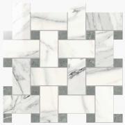 Imperial Intreccio Lapp. Calacatta Bianco/Grigio Imperiale - dlaždice mozaika 30x30 bílá