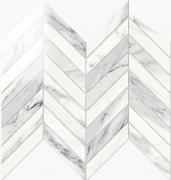 Imperial Chevron Lapp. Calacatta Bianco - dlaždice mozaika 24,7x30 bílá