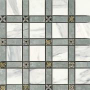 Imperial Cassetone Lapp. Calacatta Bianco/Grigio Imperiale - dlaždice mozaika 30x30 bílá