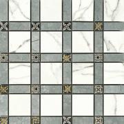 Imperial Cassetone Lapp. Statuario/Grigio Imperiale - dlaždice mozaika 30x30 bílá