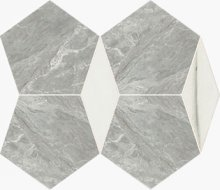 Imperial Pentagono Lev./Sat. Bardiglio/White Dolomite - dlaždice mozaika 34,5x26 šedá