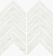 Chevron Levigato White Dolomite - dlaždice mozaika 25,5x29,8 bílá lesklá