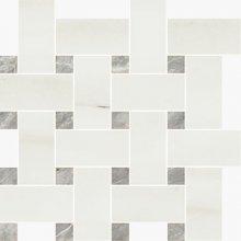 Intrecio Levigato White Dolomite/Bardiglio - dlaždice mozaika 30x30 bílá lesklá