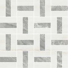 Cross Satin/Lev. White Dolomite/Bardiglio - dlaždice mozaika 30x30 bílá lesklá