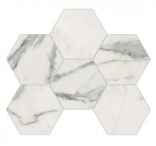 Imperial Esagona Levigato Bianco Apuano - dlaždice mozaika 29,3x38 bílá
