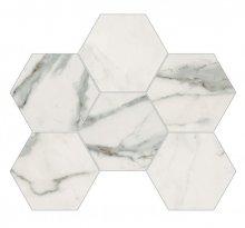 Imperial Esagona Naturale Bianco Apuano - dlaždice mozaika 29,3x38 bílá