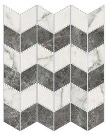 Imperial Zig-Zag Levigato Bianco Apuano - dlaždice mozaika 30x35 bílá