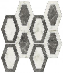 Imperial Losanga Levigato Bianco Arabescato - dlaždice mozaika 26x26 bílá