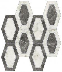 Imperial Losanga Naturale Bianco Arabescato - dlaždice mozaika 26x26 bílá