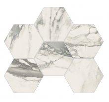 Imperial Esagona Levigato Bianco Arabescato - dlaždice mozaika 29,3x38 bílá