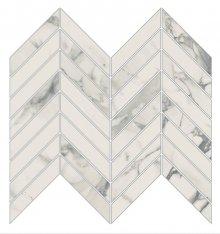 Imperial Chevron Levigato Bianco Arabescato - dlaždice mozaika 25,5x29,8 bílá