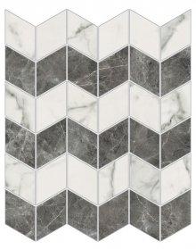 Imperial Zig-Zag Levigato Bianco Arabescato - dlaždice mozaika 30x35 bílá