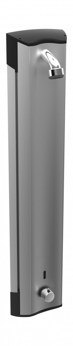 Hansaelectra - bezdotykový hliníkový sprchový panel s termostatem