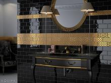 Masia Jewel Gold - obkládačka inzerto 7,5x15 zlatá